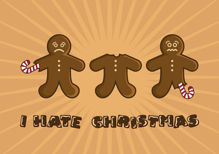 I hate Christmas vector illustration. Christmas gingerbread man cartoon. Eaten gingerbread man vector. Funny Christmas Card. Sad gingerbread man