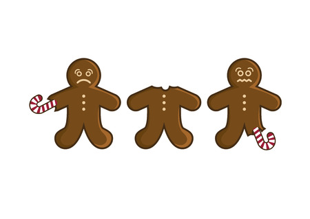 Sad gingerbread man vector illustration. Gingerbread isolated on white background. I hate Christmas picture. Christmas gingerbread man cartoon. Eaten gingerbread man vector. Funny Christmas Card 스톡 콘텐츠 - 112901462