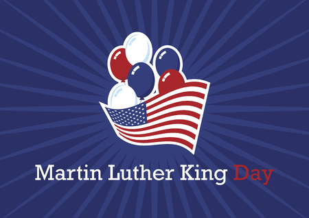 Martin Luther King Day vector. American hero. American flag with balloons. American symbols on a blue background. Important day Illustration