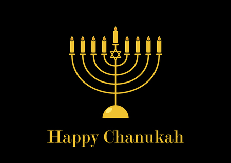 Happy Chanukah golden candlestick vector. Golden Menorah on a black background. Happy Chanukah greeting card. Jewish holiday Hanukkah. Important day