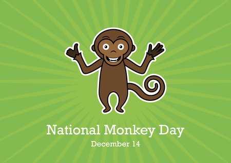National Monkey Day vector. Monkey cartoon character. Cute monkey on green background. Happy monkey vector illustration. Important day