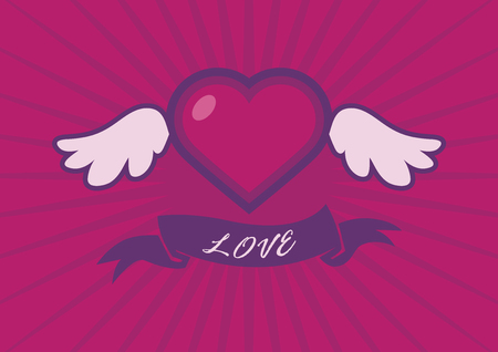 Winged heart with ribbon vector. Beautiful heart with wings. Heart on a pink background. Love uplifting. Valentine icon