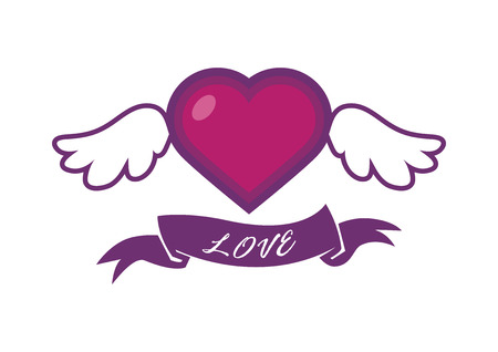 Winged heart with ribbon vector. Beautiful heart with wings. Heart isolated on white background. Love uplifting. Valentine icon
