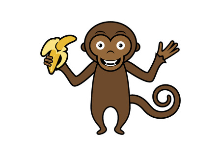 Monkey with banana vector. Monkey cartoon character. Cute monkey isolated on white background. Happy monkey vector illustration. Brown monkey vector icon