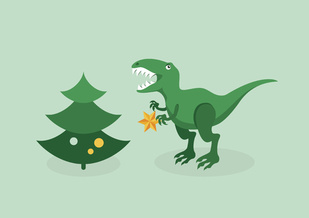 T rex Christmas trouble vector. Tyrannosaurus with a Christmas tree. Angry christmas T rex. Dinosaur christmas problem. T rex funny christmas illustration