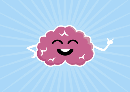Pink happy brain vector illustration. Brain cartoon character. Cheerful mind vector illustration. Happy brain icon Vettoriali