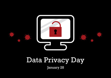 Data Privacy Day vector. Secure computer vector illustration. Computer graphic icon. Data Protection Day vector. Important day