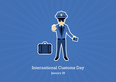 International Customs Day vector. Customs officer cartoon character. Border security illustration. Security guard vector. Important day