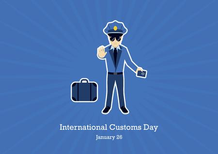Internationale douanedag vector. Douanebeambte stripfiguur. Grensbeveiliging illustratie. Bewaker vector. Belangrijke dag Vector Illustratie