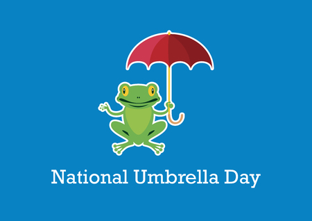 National Umbrella Day vector. Frog with umbrella cartoon character. Important day. February 10, National Umbrella Day