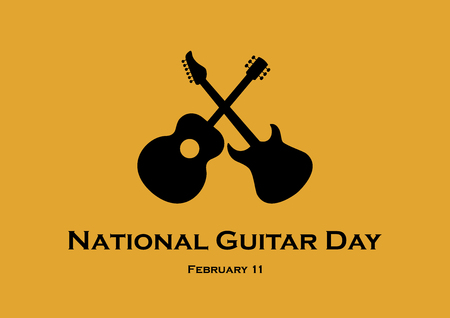 National Guitar Day vector. Classic and electric guitar vector icon. Guitar black silhouette. February 11, National Guitar Day. Important day