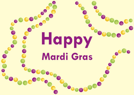 Happy Mardi Gras vector. March 5, Mardi Gras 2019. Yellow, green and purple, colors of Mardi Gras. Colorful beads vector. Important day Ilustrace