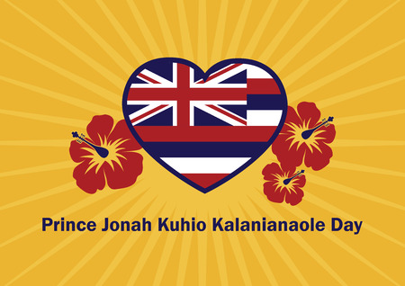 Prince Jonah Kuhio Kalanianaole Day vector. Hawaii flag vector. Hawaiian background with hibiscus. Important day