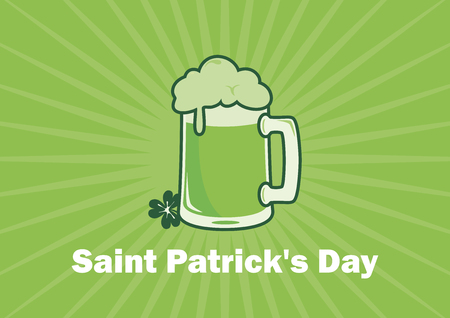 Saint Patrick's Day Green beer vector. Green beer on green background. Glass of green beer vector. March 17, Patricks Day. Important day