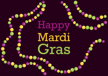Happy Mardi Gras Colored Beads vector. March 5, Mardi Gras 2019. Yellow, green and purple, colors of Mardi Gras. Colorful beads vector. Important day