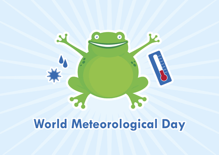 World Meteorological Day vector. Frog cartoon character. Cheerful green frog. Weather vector icons. March 23, World Meteorological Day. Important day