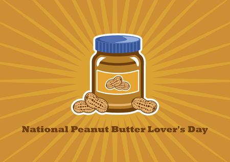 National Peanut Butter Lover's Day Vector. Jar of peanut butter vector illustration. American delicacy. March 1, National Peanut Butter Lovers Day. Important day