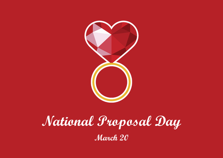 National Proposal Day vector. Engagement ring with heart. Ring with big diamond. Red diamond heart. Polygonal red heart. Graphic diamond heart. Important day