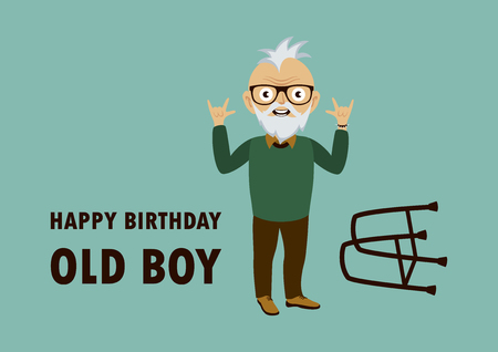 Happy Birthday Old Boy. Punk grandpa cartoon character. Vital old adult vector. Funny birthday card for seniors. Age is just a number. Forever young boy. Punk is not dead