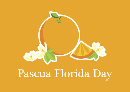 Pascua Florida Day vector. Feast of flowers. Easter season in Florida. Orange with flowers vector. Important day Ilustrace