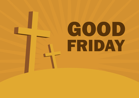 Good Friday vector. Christian Cross on a orange background. Christian holiday commemorating the crucifixion of Jesus. Religious background. Important day