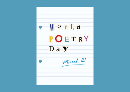 World Poetry Day vector. Anonymous letter with characters cut out from newspapers. Page paper illustration. Important day