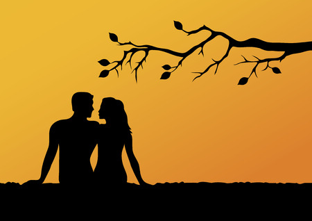 Lovers silhouette in sunset vector images. Romantic background with lovers. Vector Illustration Keywords: Man and woman at sunset Ilustração