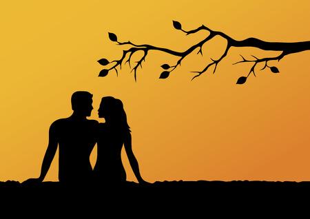 Silhouette d'amoureux en images vectorielles au coucher du soleil. Fond romantique avec les amoureux. Mots-clés de l'illustration vectorielle : homme et femme au coucher du soleil Vecteurs