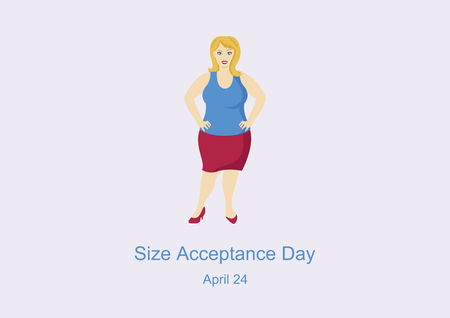 Size Acceptance Day Vector. International No Diet Day. Curvy woman vector. Cheerful fat woman illustration. Happy plus size fashion model in red skirt vector Illustration