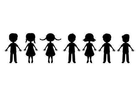 Little kids silhouette vector. Children in a row clipart. Black icons set isolated on white background. Little children silhouette cartoon character