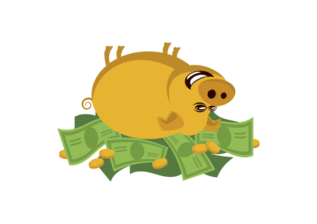 Golden rich pig vector. Cheerful piggy lying in money clip art. Rich pig cartoon character. Pig with money icon vector isolated on white background