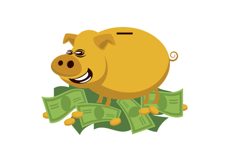 Golden rich pig vector. Pig on a pile of money vector. Rich pig cartoon character. Pig with money icon vector isolated on white background