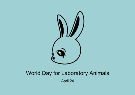 World Day for Laboratory Animals Vector. Sad bunny vector. Crying rabbit cartoon character. Vector Illustration Keywords: Stop the cruelty. Stop animal testing. Important day