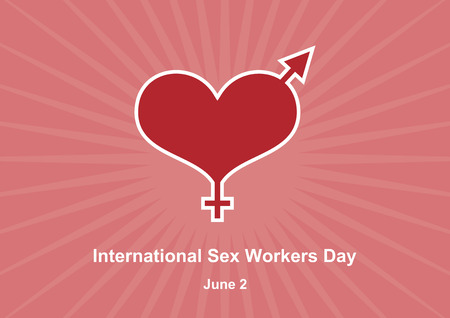 International Sex Workers Day vector. Whores' Day vector. Pink background with heart, he and she. Important day