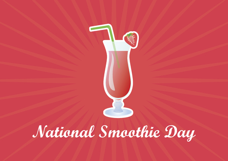 National Smoothie Day Vector Illustration. Strawberry smoothie icon. Fruit smoothie on a pink background. Important day