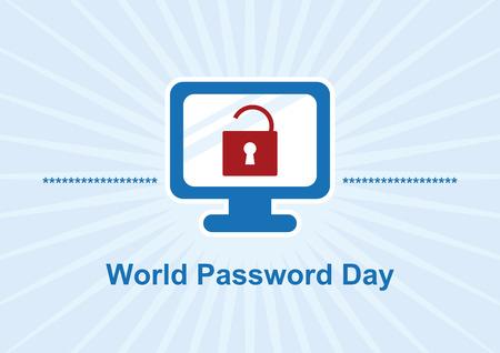 Vecteur de la Journée mondiale du mot de passe. Mots-clés de l'illustration vectorielle : icône graphique de l'ordinateur. Jour important