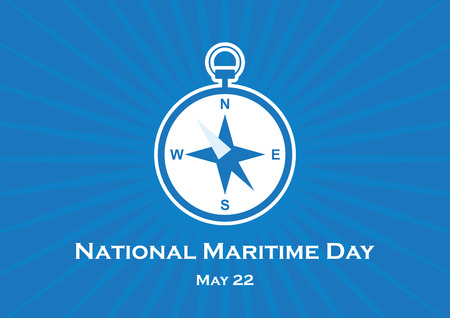 National Maritime Day vector. Compass icon vector. Compass on a blue background. Important day