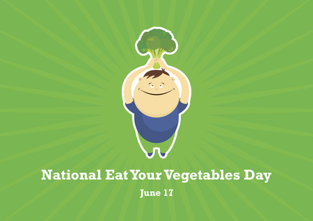 National Eat Your Vegetables Day vector. Vegan vector illustration. Guy with broccoli cartoon character. Important day