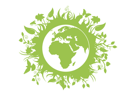 Green eco planet Earth vector. Green planet earth isolated on white background. Planet Earth with fauna and flora vector. Environmental concept with eco planet earth Ilustrace