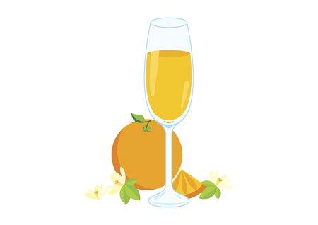 Mimosa drink vector illustration. Glasses of champagne with orange vector illustration. Mimosa isolated on white background vector illustration. Mixed drink with orange juice