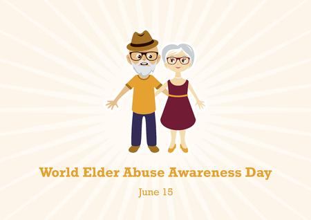 World Elder Abuse Awareness Day vector. Elderly couple in love vector. Elderly cartoon character. Vector Illustration Keywords: Elderly couple icon. Important day