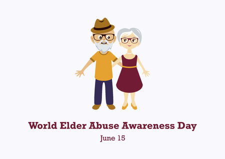 World Elder Abuse Awareness Day vector. Elderly couple in love vector. Elderly cartoon character. Vector Illustration Keywords: Elderly couple icon. Important day