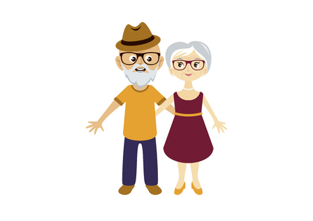 Elderly couple in love vector. Elderly cartoon character. Cute elderly couple in love cartoon character. Vector Illustration Keywords: Pensioners isolated on white background. Elderly couple icon