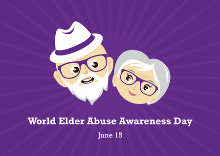 World Elder Abuse Awareness Day vector. Vector Illustration Keywords: Elderly couple in love vector. Elderly cartoon character. Vector Illustration Keywords: Elderly couple icon. Important day
