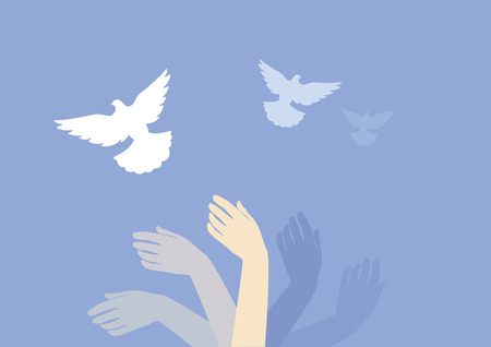 Dreamy background with hands and doves vector. Hands in motion vector. Surreal background. Dreaming hand with dove illustration Ilustração