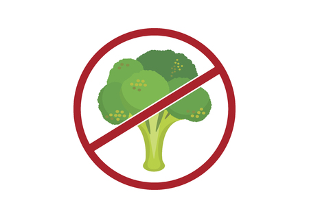 Broccoli ban vector. Stop broccoli vector. Disgusting broccoli graphic illustration. Broccoli isolated on white background. No Diet Vector Иллюстрация