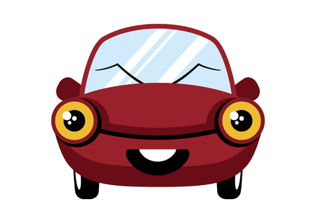 Happy red car cartoon character. Cheerful car vector. Happy Car Isolated on White Background