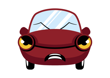 Angry red car cartoon character. Angry car vector. Annoyed Car Isolated on a White Background