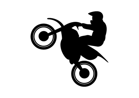 Biker on a Motorcycle vector. Motocross Rider Jump Vector. Biker silhouette isolated on white background. Motorcycle vector icon