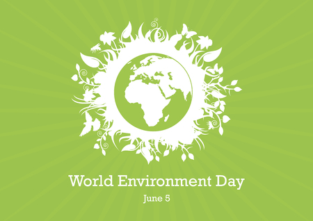 World Environment Day Vector Illustration. Green planet earth vector. Planet Earth with fauna and flora vector. Environmental concept with eco planet earth. Important day